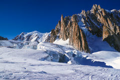 Snowy plain in Vallee Blanche Stock Images