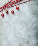 Snowy plate, Christmas decorations. Winter mood, clean background Royalty Free Stock Photos