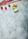 Snowy plate, Christmas decorations. Winter mood, clean background Royalty Free Stock Photo