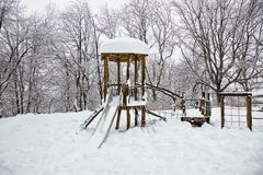 Snowy playground Royalty Free Stock Image