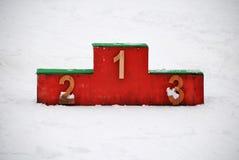 Snowy-Podium Lizenzfreie Stockfotos