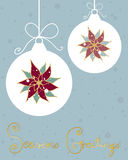 Snowy pointsettia. An illustration of a christmas greeting card design with pointsettias baubles and bows on a jade backround and gold lettering Royalty Free Stock Photography
