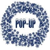 Snowy POP UP text in snowflake frame. Illustration concept Stock Images