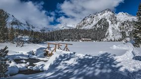Snowy Popradske pleso in the High Tatras. Mountain hotel on Popradske Pleso in the High Tatras Stock Images
