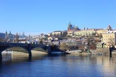Snowy Prague gothic Castle abova River Vltava, Czech Republic Royalty Free Stock Photography