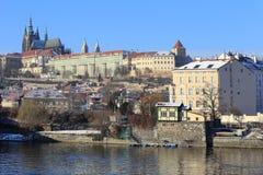 Snowy Prague gothic Castle abova River Vltava, Czech Republic Royalty Free Stock Images
