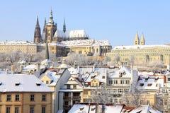 Snowy Prague Gothic Castle Above River Vltava, Czech Republic Royalty Free Stock Images