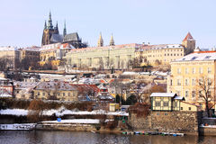 Snowy Prague gothic Castle above River Vltava Royalty Free Stock Image