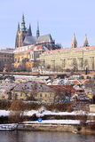 Snowy Prague gothic Castle above River Vltava Royalty Free Stock Photography