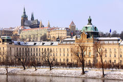 Snowy Prague gothic Castle above River Vltava in the sunny Day, Czech Republic Royalty Free Stock Photos