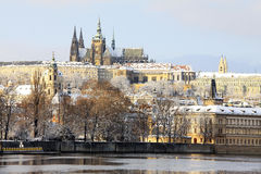 Snowy Prague gothic Castle above River Vltava in the sunny Day, Czech Republic Royalty Free Stock Image