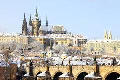 Snowy Prague gothic Castle Royalty Free Stock Photo