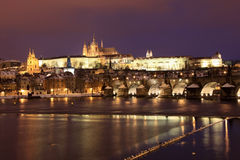 Snowy Prague gothic Castle in the Night Stock Images