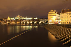 Snowy Prague gothic Castle in the Night Stock Photography