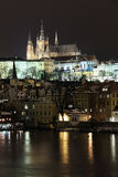 Snowy Prague gothic Castle in the Night Stock Photo