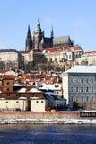 Snowy Prague gothic Castle on the River Vltava Royalty Free Stock Photo