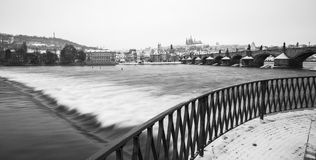 Snowy Prague gothic Castle Stock Photos