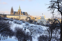 Snowy Prague gothic Castle in the sunny Day, Czech Republic Royalty Free Stock Images