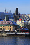 Snowy Prague Lesser Town above River Vltava in the sunny Day, Czech Republic Stock Image