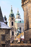 Snowy Prague St. Nicholas' Cathedral Royalty Free Stock Photo
