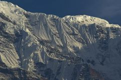 Snowy precipices of southern Annapurna. Trekking to Annapurna Ba. Se Camp, Nepal royalty free stock images