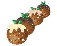 Snowy puddings. An illustration of four festive christmas puddings with holly decoration on a snowy white background Royalty Free Stock Image