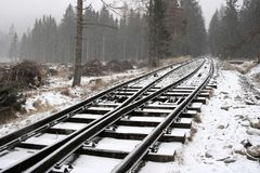 Snowy rails Royalty Free Stock Images