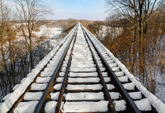 Snowy Railway Trestle Stock Photo