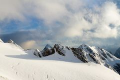 Snowy Range, and clouds Royalty Free Stock Photo