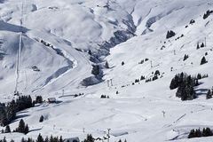 Snowy ravine Les Crozets. Portes du Soleil, Switzerland Stock Photos