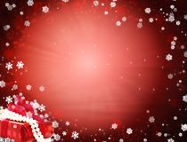 Snowy red background vector illustration