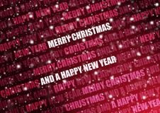 Snowy red christmas text. White snowflakes, on a red background, with light coming from the right and text in the back royalty free stock images