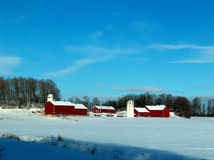 Snowy Red Farm scene Royalty Free Stock Photo