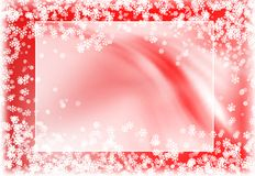 Snowy red frame Stock Photos