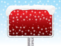 Snowy red sign Royalty Free Stock Photography