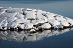 Snowy refections at edge of lake on wintry day Stock Image