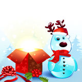 Snowy reindeer christmas background Stock Photo