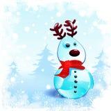 Snowy reindeer christmas background Stock Image
