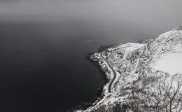 Snowy Reine Aerial Stockbild