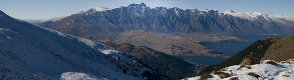 Snowy Remarkables. Panoramic image of the Remarkables Mountain Range with a dusting of snow Stock Image