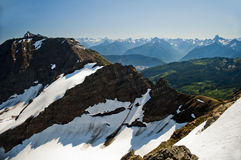 Snowy ridgeline. A snowy ridgeline in the Cheam Mountain Range, over looking the Fraser Valley, British Columbia Stock Images