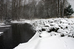 Snowy river. River running through snowy area Royalty Free Stock Images