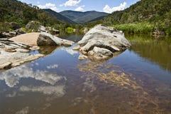 Snowy river in Australia. stock photo