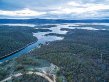 Snowy River and Lake Jindabyne at sunset aerial view. New South. Wales, Australia Royalty Free Stock Photography