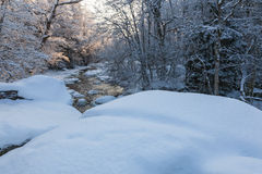 Snowy river landscape Royalty Free Stock Images