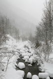 Snowy river in winter sadness isolation and cold a Royalty Free Stock Photography