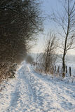 Snowy road. Snowy path with trees during wintertime in europe Stock Photos