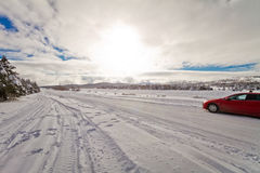 Snowy road. Car in winter countryside. Ai-Petry mount Royalty Free Stock Image
