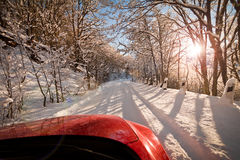 Snowy road Stock Photography