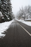 Snowy road. Desert snowy road in a cold winter day stock photos